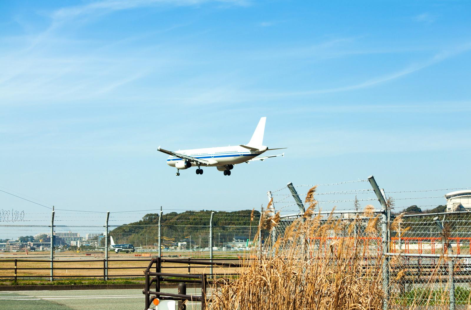 着陸時の飛行機